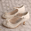 Wedopus Ivory Lace Mary Jane Pumps Closed Toe