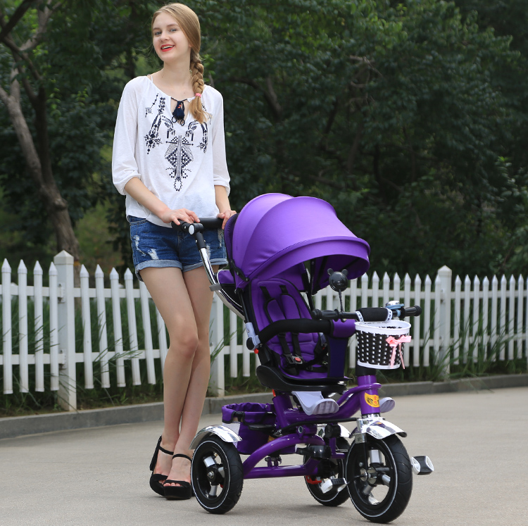 Grows With Your Child Folding Kids Trike / Removable Canopy for UV Protection Tricycle for Babies