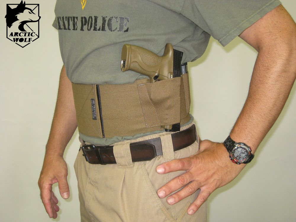 Concealed Tactical Adjustable Belly Band Waist Pistol Gun Holster & 2 Magzine Pouches