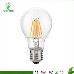 HOT SALE 6w 610LM led filament bulb,360degree/b22/E27 A60 led filament lamp