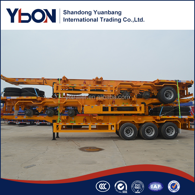 China manufacture 40ft 3 axle skeleton gooseneck semi trailer for sale