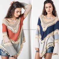 Online Shopping Fashion Women Long Sleeve Crochet Ladies Casual Clothing Top