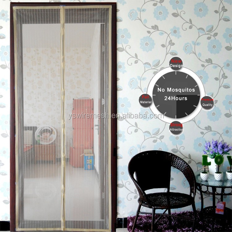 Top Quality Magnetic Mosquito Screen Door/Polyester DIY Fiberglass Screen Door Netting