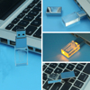 3D customized logo crystal glass usb flash drive with led light