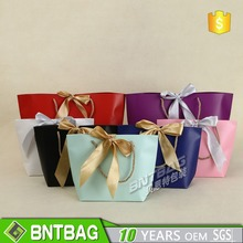 colorful paper gift tote bag with Bow tie ribbon tie