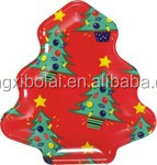 Hot sell Christmas plastic plate looks like Christmas tree plate useful with kids shape plastic plate