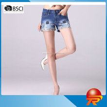 2017 Korean style emboridered washed casual hot denim shorts fashion sexy women's jeans for summer TR2-571