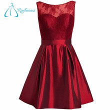 A-Line Short Jewel Sleeveless Lace Burgundy Prom Dress