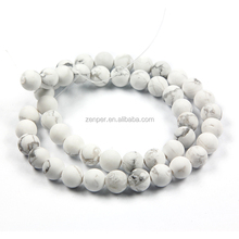 New bead matte frosted white howlite stone bead round stone 6 mm 8 mm 10mm