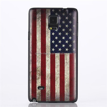 Shenzhen Factory Popular OEM design Coloured Drawing National Flag PC back cover cases for Samsung Galaxy Note4