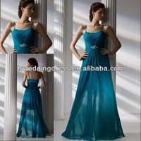 HC2241 Graceful turquoise see through sexy gathered chiffon beaded A-line full length zipper spaghetti straps evening dress