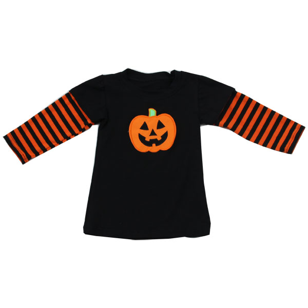 Halloween Black Body With Orange Stripe Sleeve 100% Cotton 11-14 Years Boys Casual Shirts