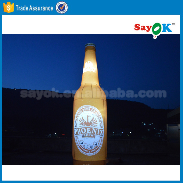 Giant inflatable beer bottle with led light