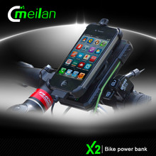 Shenzhen Meilan Bike smart Accessories X2 power bank led light high end Bicycle Front Light Holder mobile Phone Manufacturer