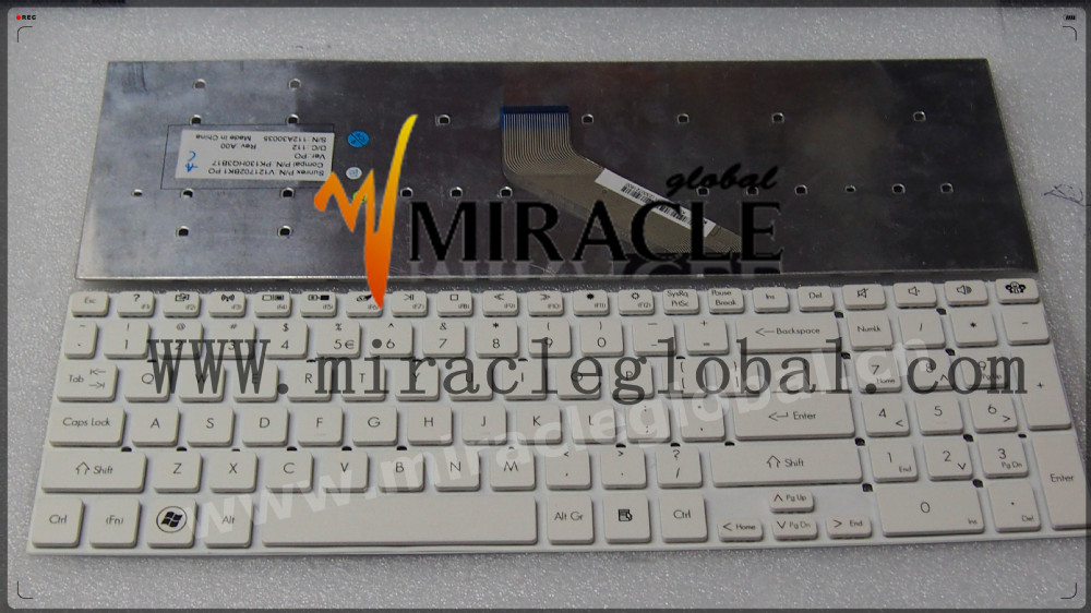 Wholesale English laptop keyboard for Acer 5830 5830t keyboard white color
