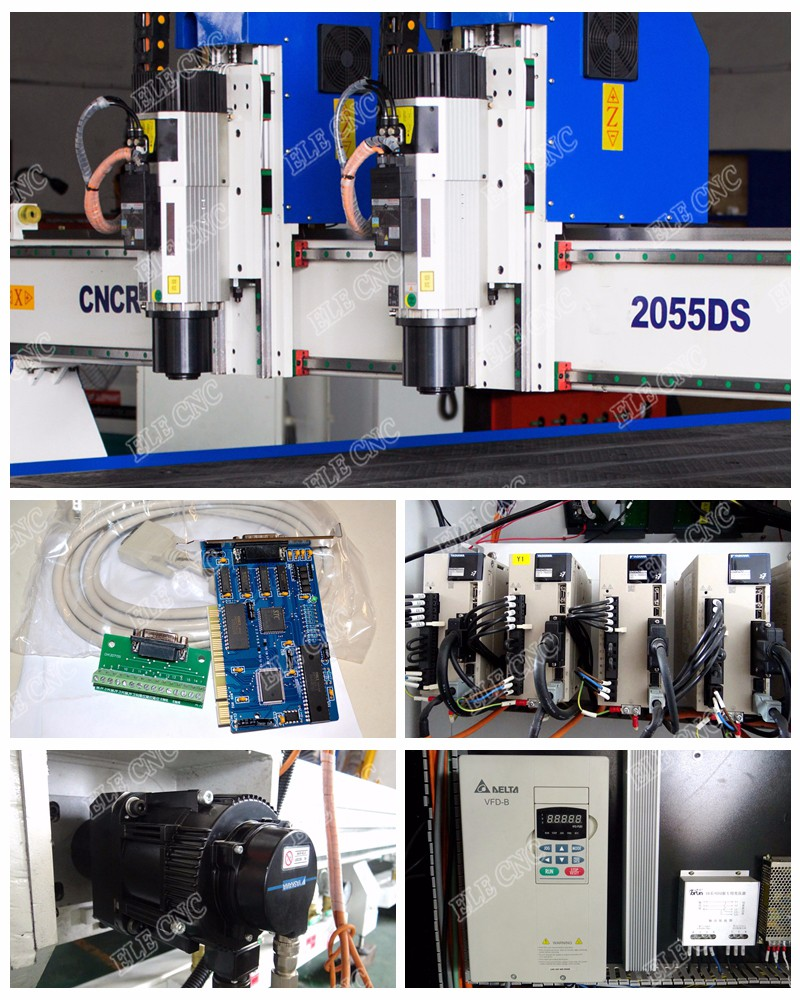 2055 Double separate heads China cnc router multi spindle , engraving machines for sale , cnc woodworking machinery