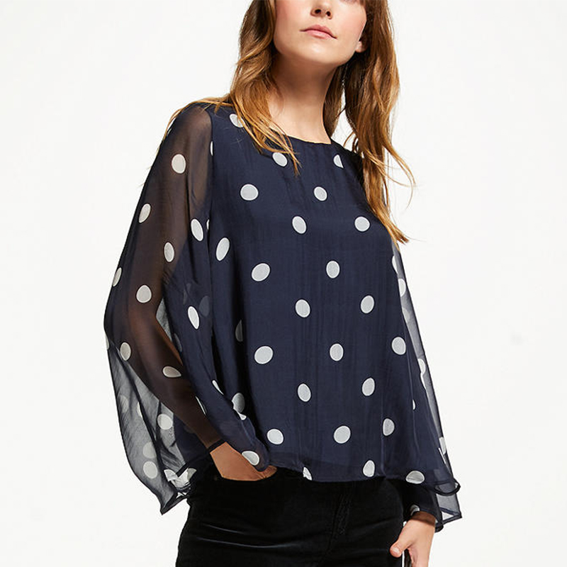 Asian style round neck silk fabric polka dot print wholesale blouse