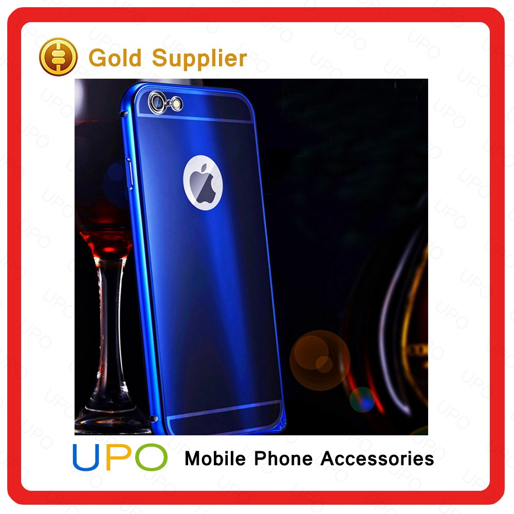 [UPO] Aluminum Metal Bumper Graduated green blue Colors Mirror Back Cover Case for Iphone 6