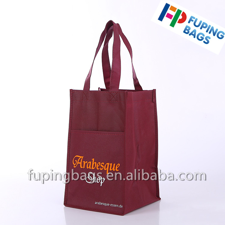 promotional foldable non woven wine bag for 4bottle