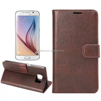 FL3568 For Samsung S6 leather Flip case Wallet Stand Case with PU Leather and Card Slots