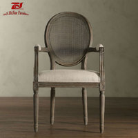 French Rural Style Furniture Cane and Linen Rattan Back Dining Chair