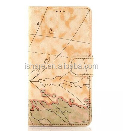 "New Map Design High Quality Flip Stand PU Leather Case Cover For iPhone6 4.7""&5.5"""