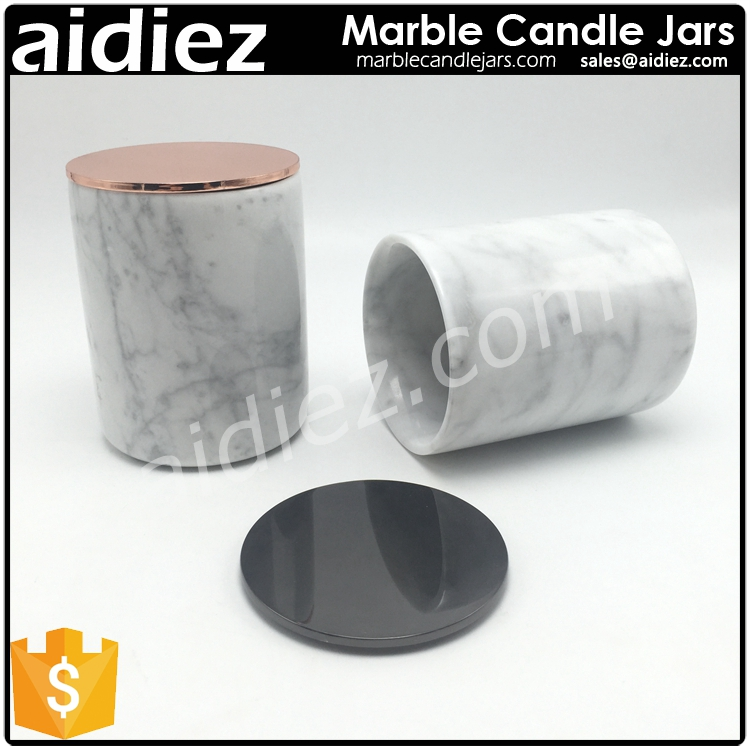 Customized marble candle jars with copper lid candle stand