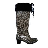 women high heel PVC rain boots with shoe lace warm antiskid waterproof working shoes