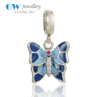925 Fashion Silver Jewelry Blue and Light Blue Enamel Butterfly Charms Pendant