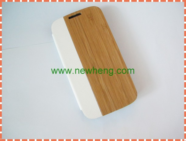 Wooden + PU white Leather Case For Samsung Galaxy S4