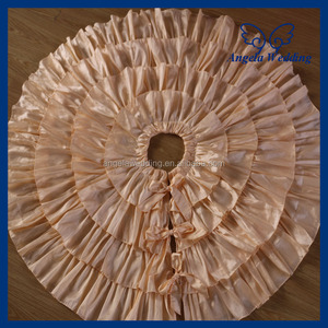 TS004A New 60 inches round taffeta champagne Christmas tree skirt