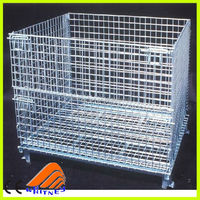 china quality wire mesh steel stackable pallet box,zinc-coated storage rack,large animal cage