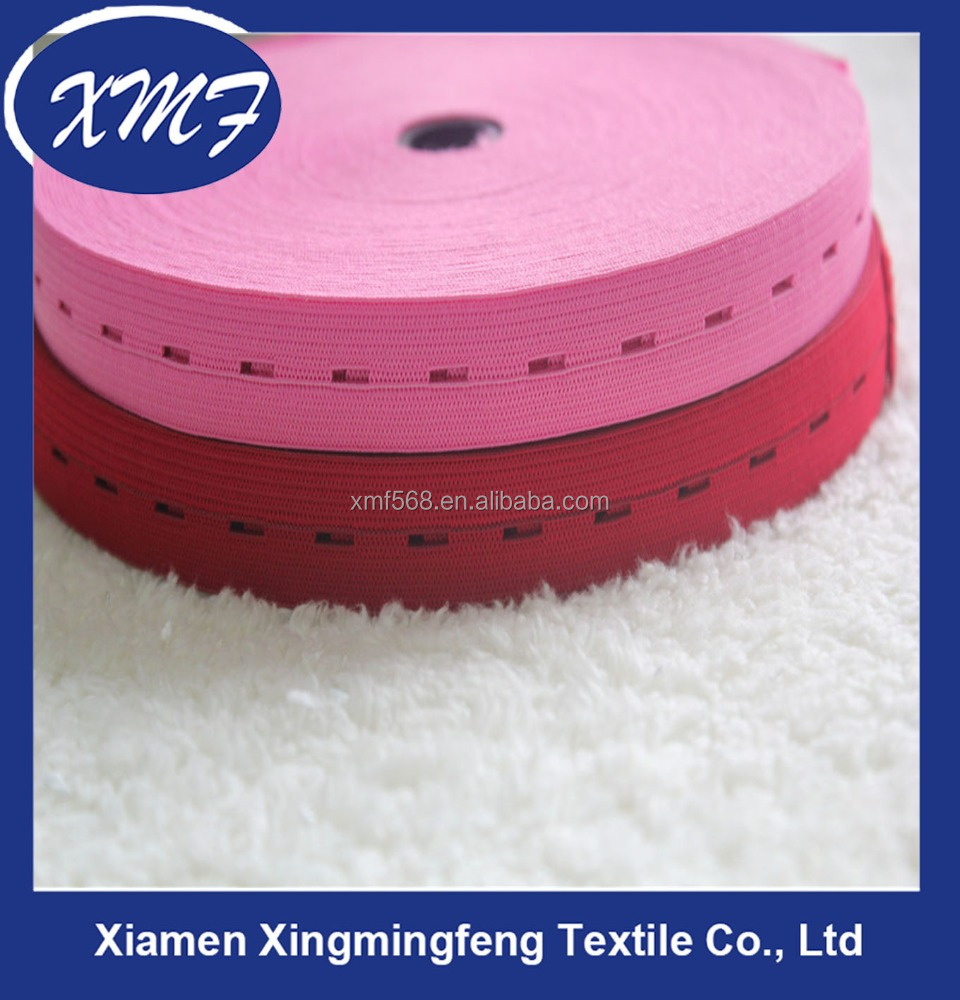 Wholesale eyelet knitted rubber polyester elastic buttonhole webbing bands for home textile