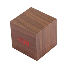 China Online Shop Wood Clock Desk Table LED Digital Display Alarm Clock with Time & Date & Temperature Display