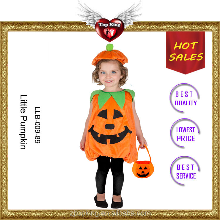 2017 New Halloween Little Pumpkin Baby Dress Costumes with Hat
