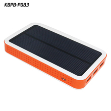P083 wholesale portable waterproof rohs solar panel battery charger power bank with led lights