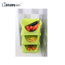 Plastic Stackable Vegetable and Fruit Storage Box and Shelf for Kitchen