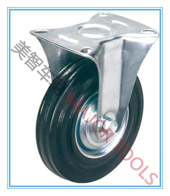 5 inch trolley fixed caster rubber wheel
