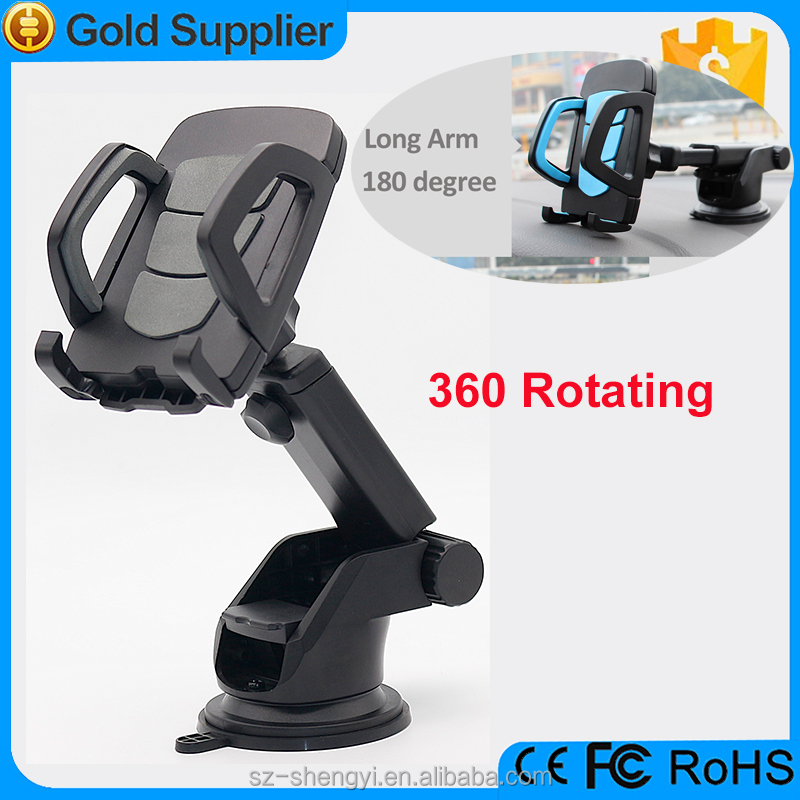 Suction cup holder adjusting cell phone car mount for windshield and dashboard