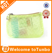 new bright green nylon mesh cosmetic bag promotion make up bag case