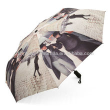 Photo printing 3 fold umbrella customize made umbrella wholesale China