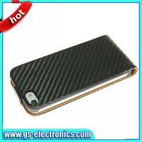 2013 new arrival carbon fibre case for iphone 5 flip cover
