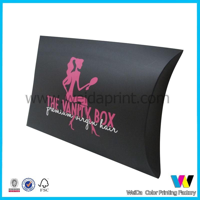 Custom black matte pillow boxhair extension box view pillow box custom black matte pillow boxhair extension box pmusecretfo Images