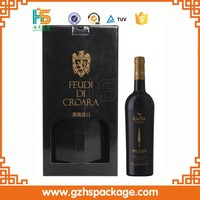 wholesale high quality wine gift box for 2 bottle packaging , printing custom wine cork stopper box
