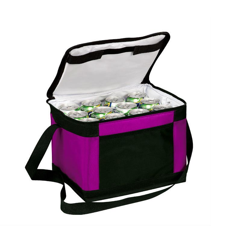 black polyester laminated insulated food carrier lunch bag for adult