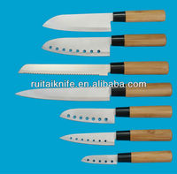 Bamboo handle kitchen knife sets