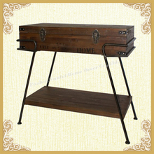 Antique wooden trunk,table design with drawer