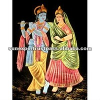 "Indian Hindu Lord Krishna & Goddess Radha Handmade Tapestry Deity Art Oil Painting on Velvet Fabric Wall Decor Hanging 28"" X 22"""