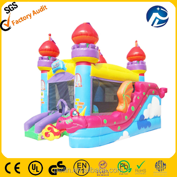 ZZPL Pink Dinosaur Castle Inflatable Bouncer Combo For Sale BSR-13