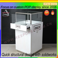 Customized floor wooden glass display case locks